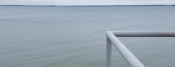 Across the big blue Peconic Bay.