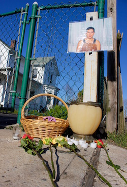 A memorial on the spot where Marcelo Lucero died.