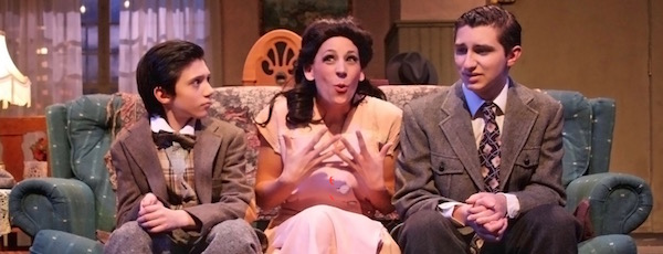 "Christopher Darrin (Artie), Rebecca Edana (Bella) and Jamie Baio (Jay) in HTC's production of ""Lost in Yonkers"" 