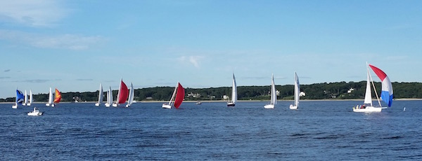 Spinnakers at the start, Wednesday night in Cutchogue Harbor.