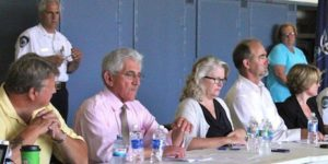 East Hampton Town Board members at a meeting in Montauk last summer.