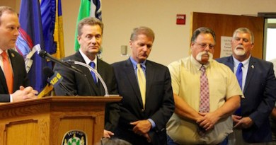 Congressman Lee Zeldin with North Fork elected officials at Monday's press conference.