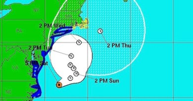 Hermine's track as predicted by the National Weather Service at 5 p.m. Saturday