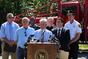 County Executive Steve Bellone outlined storm preparation measures in a press conference with the county's Fire, Rescue & Emergency Services on Friday.