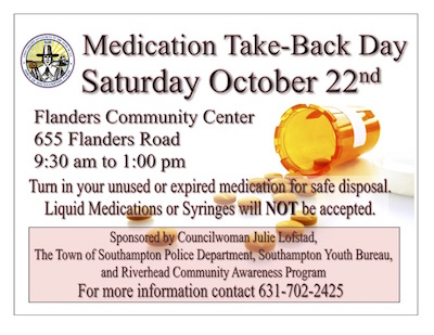 The Flanders Farm Fresh Food Market will host a medication take-back day on Oct. 22
