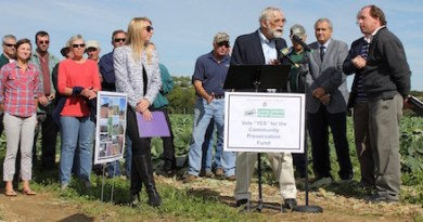 Peconic Land Trust President John v.H. Halsey at Thursday's press conference.