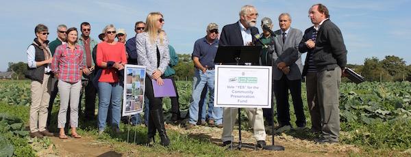Peconic Land Trust President John v.H. Halsey at Thursday's press conference.