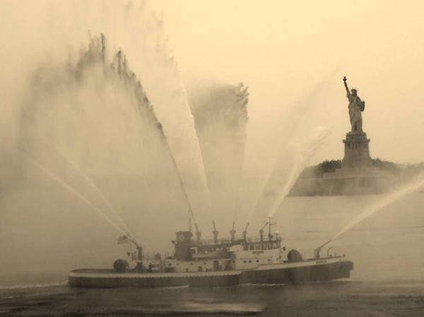 Fire Fighter in New York Harbor