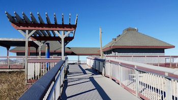 The pavilion as viewed from the ramp leading to the beach.