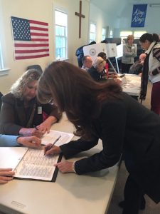 Anna Throne-Holst cast her ballot at the Community Bible Church in Noyac Tuesday morning | courtesy photo