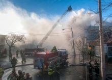 At the scene of the Dec. 16 fire on Main Street in Sag Harbor.     Michael Heller photo courtesy Bay Street Theatre