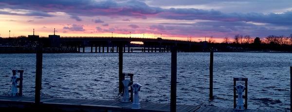 Sag Harbor, winter sunset.