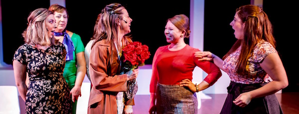 """Brianna Kinnier, Toni-Jo Pescosolido Birk, Shannon DuPuis, Julie Crowley, Christina Stankewicz and Bethany Dellapolla in Center Stage's production of """"Promises, Promises."""""""