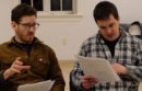 "Sawyer Spielberg and Eric Svendsen at a read-through of their new production of ""Extinction"" at Guild Hall."