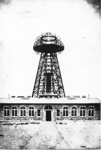 A historical photograph of the lab and tower.