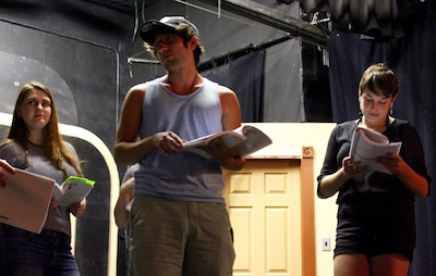(from left to right) Rebecca Lukachinski, Eric Hughes [Jimmy] and Ashley Hilary [Millie] in rehearsal.
