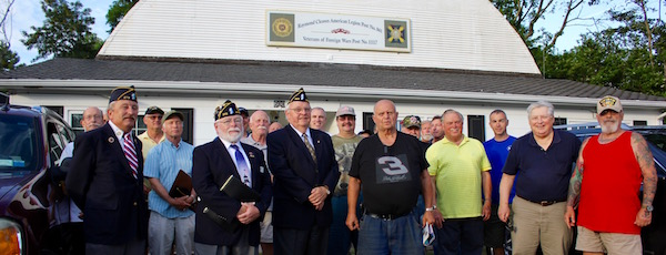 American Legion members and new recruits at the Mattituck post's swearing in ceremony July 6.