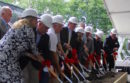 At the ceremonial groundbreaking.