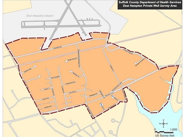 The Suffolk County Health Department's map of the area in which they're planning to test private wells.
