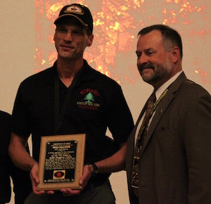DEC Forest Ranger Bryan Gallagher and Central Pine Barrens Commission Executive Director John Pavacic at the Oct. 26 award ceremony.