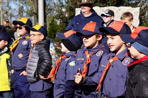 Boy Scouts and Cub Scouts from Troop 39 at the Mattituck American Legion's Veterans Day service.