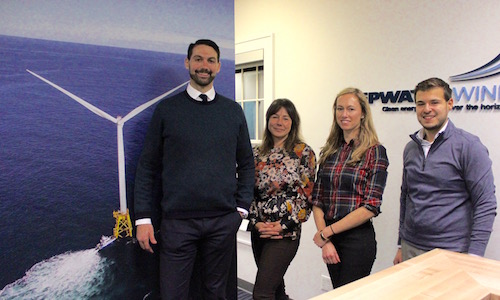 Deepwater Wind representatives Clint Plummer, Julia Prince, Jennifer Garvey and Jamil Khan at their Amagansett office.