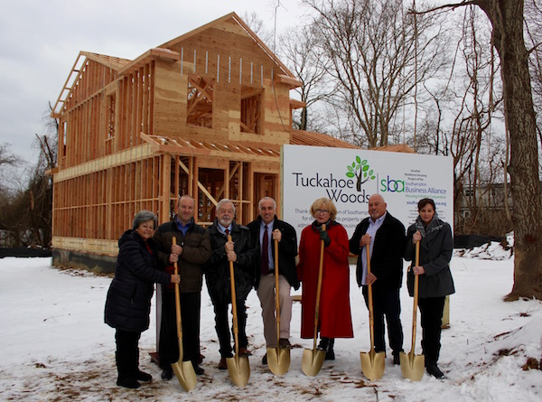 Southampton Town representatives and members of the Southampton Business Alliance at the Monday morning groundbreaking.