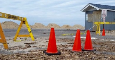 Southold's Town Beach entrance on Jan. 16.