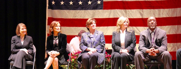 """Riverhead Town Assessor Laverne Tennenberg, Councilwoman Catherine Kent, Town Supervisor Laura Jens-Smith, Councilwoman Jodi Giglio and Highway Superintendent George """"Geo"""" Woodson at the inauguration New Year's Day."""