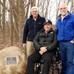 PLT's Tim Caufield, Joe Townsend and John v.H. Halsey at the trailhead at the Edwards Farm.