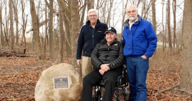 PLT's Tim Caufield, Joe Townsend and John v.H. Halsey at the trailhead at the Edwards Farm.