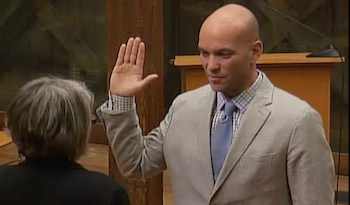 David Lys takes the oath of office Jan. 19.