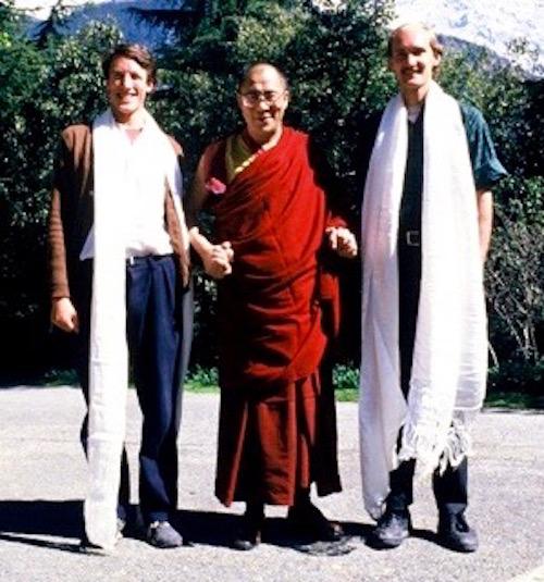 Dr. Blake Kerr, the Dalai Lama and John Ackerly in Nepal in 1987.