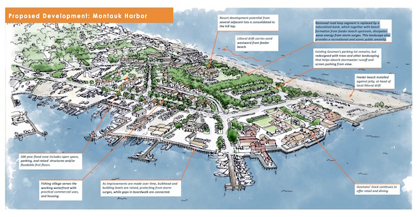 The proposed redevelopment of the area west of Montauk Harbor includes moving development landward and eliminating the bayfront loop of West Lake Drive.