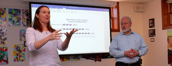 Anna Evenhouse and Greenport Village Administrator Paul Pallas at Saturday's discussion.