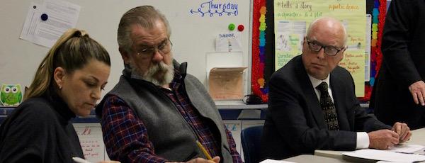 New Suffolk School Board members Jeanette Cooper, Joe Polashock and Tony Dill at Tuesday's school board meeting.