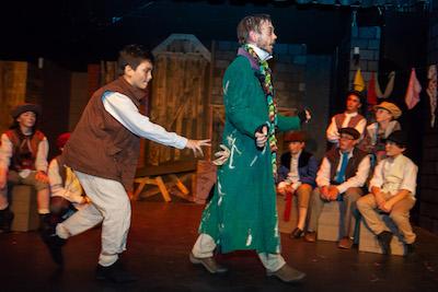 Oliver practices picking Fagin's pocket | Katharine Schroeder photo for NFCT
