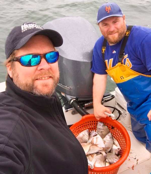 Pete Haskell and Peconic Baykeeper Sean O'Neill on a recent porgy fishing trip