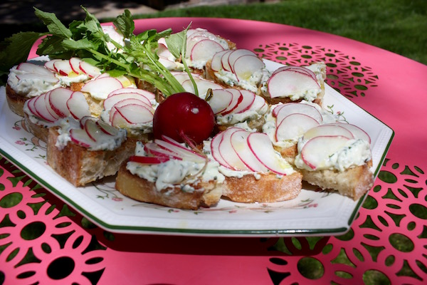 Herbed goat cheese and radish bruscetta