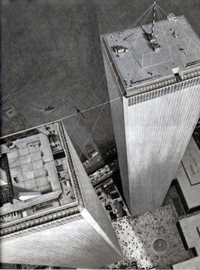 Another perspective on Philippe Petit's walk between the Twin Towers