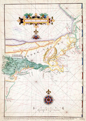 """Block's map of his 1614 voyage, with the first appearance of the term """"New Netherland"""""""
