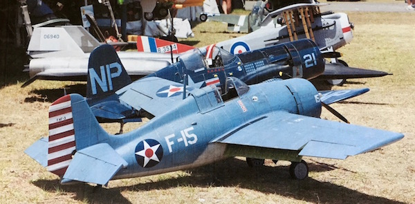 Model airplanes at a meet.