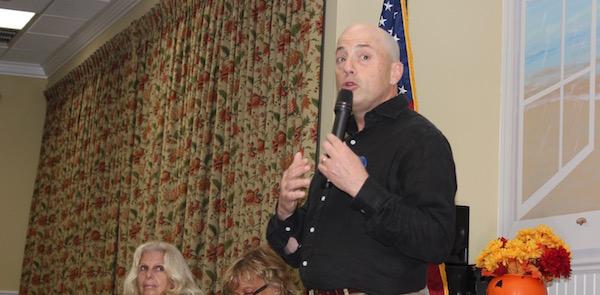 Democratic Congressional Candidate Perry Gershon spoke at Monday's Hampton Bays Civic Association meeting.