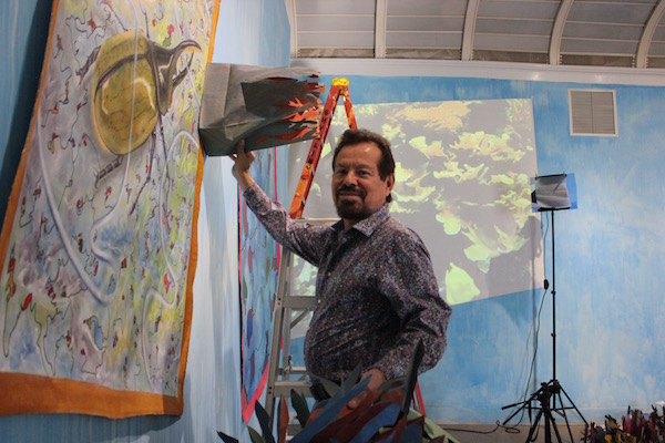 At work on the exhibition.