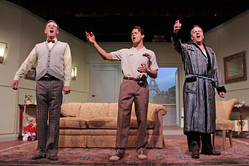 "Matthew Conlon, Connor Antico and Edward A Brennan in HTC's new production of ""A Comedy of Tenors."""