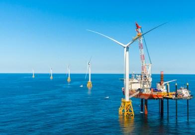 Deepwater Wind's Block Island Wind Farm during construction | Deepwater Wind photo