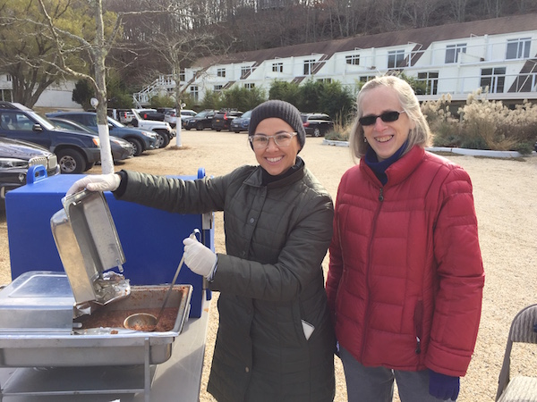 Julie Fanelli-Denny and JoAnn Kirkland serve up turkey chili.