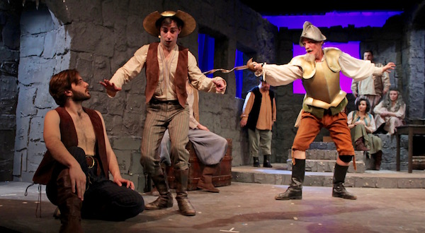 "Kyle Breitenbach, Andrew Gasparini and Matthew Conlon in rehearsal for ""Man of La Mancha,"" opening March 21 in Quogue. 