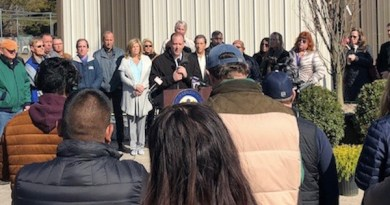 At Congressman Lee Zeldin's March 20 press conference in Westhampton.