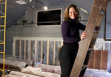NFCT President Mary Motto Kalich at the theater, which is undergoing a ground-up renovation.